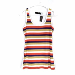 The Limited White Blue Striped Tank Top